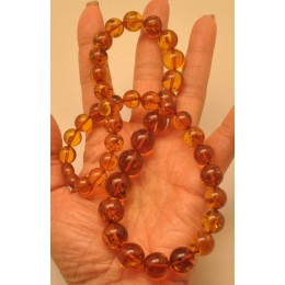 Cognac Baltic amber round beads necklace